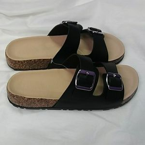 New Black Color Slip On Sandals